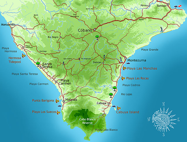 Map of snorkeling spots in the Southern Nicoya Peninsula, Costa Rica