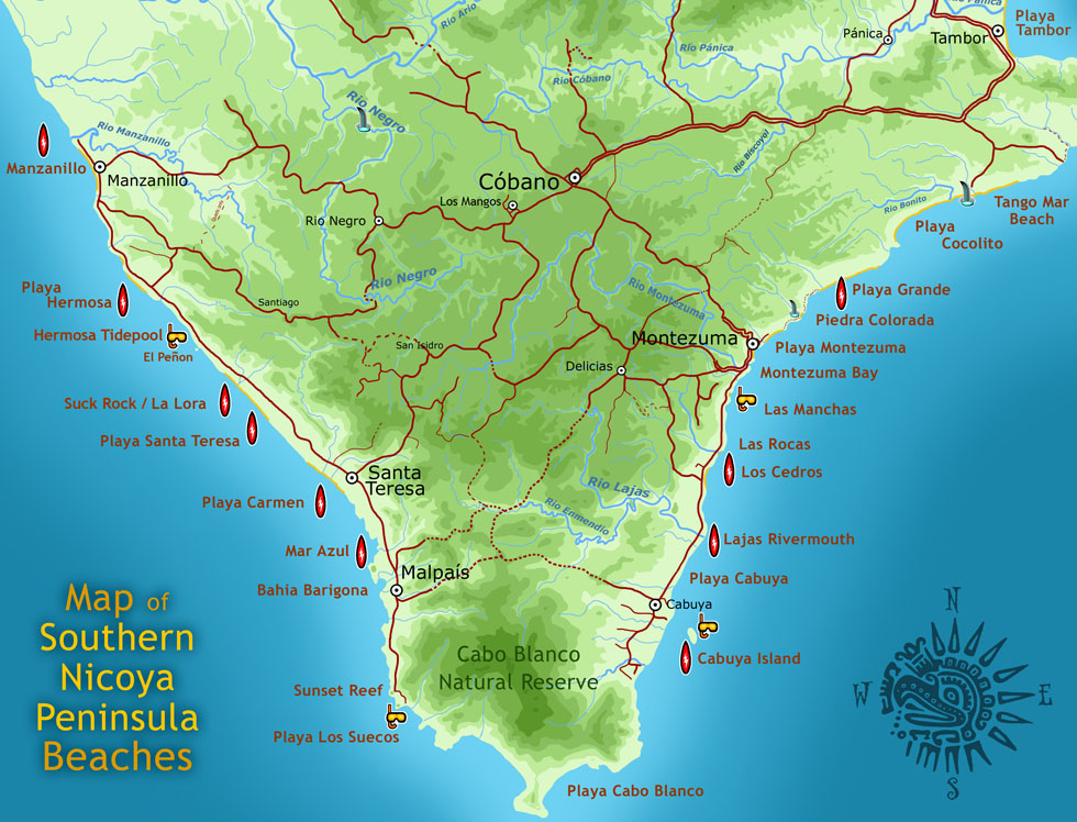 Large map of beaches of the southern nicoya peninsula
