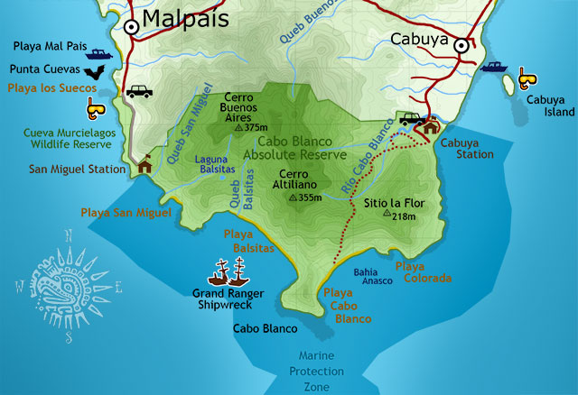 Small Map of Cabo Blanco National Reserva Absoluta