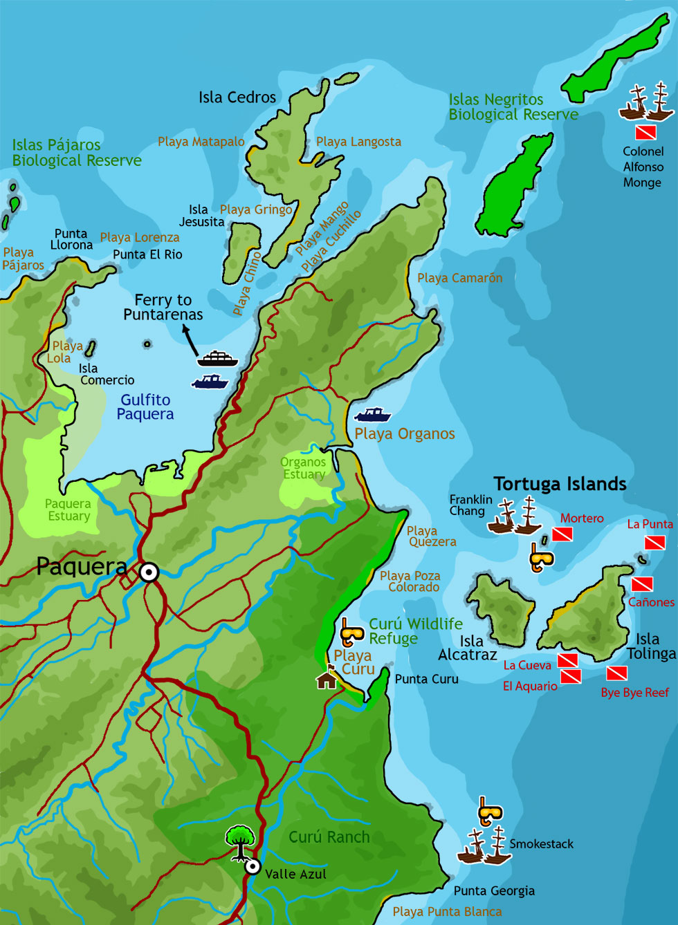 Map showing the coast, including Paquera, Playa Organos, Curu Park, and Tortuga Island