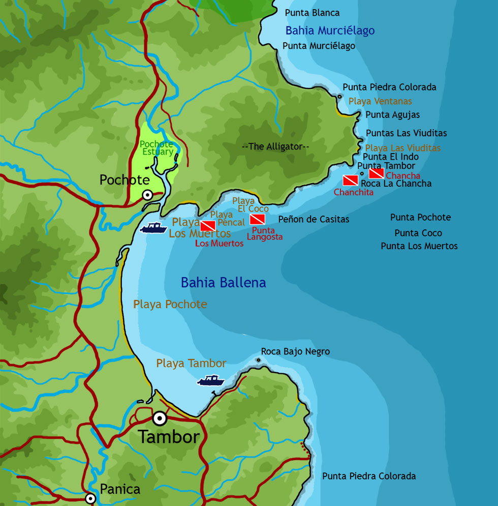 Map of ocean features and activities around Tambor and Bahia Ballena