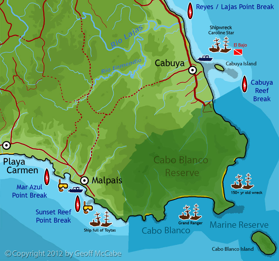 Map of coastal activites and points of interest for Cabuya, Cabo Blanco Park, and Malpais