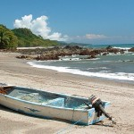 A fisherman's boat, dragged up on the shore