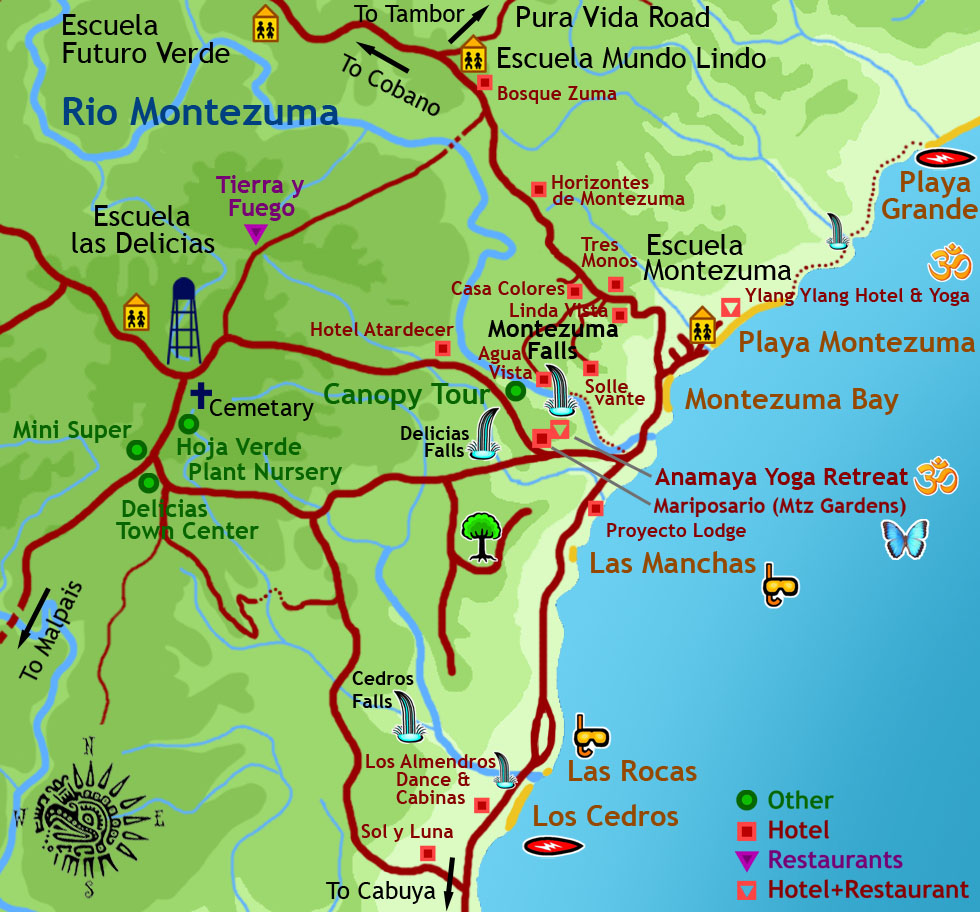Montezuma and Delicias Maps - Costa Rica