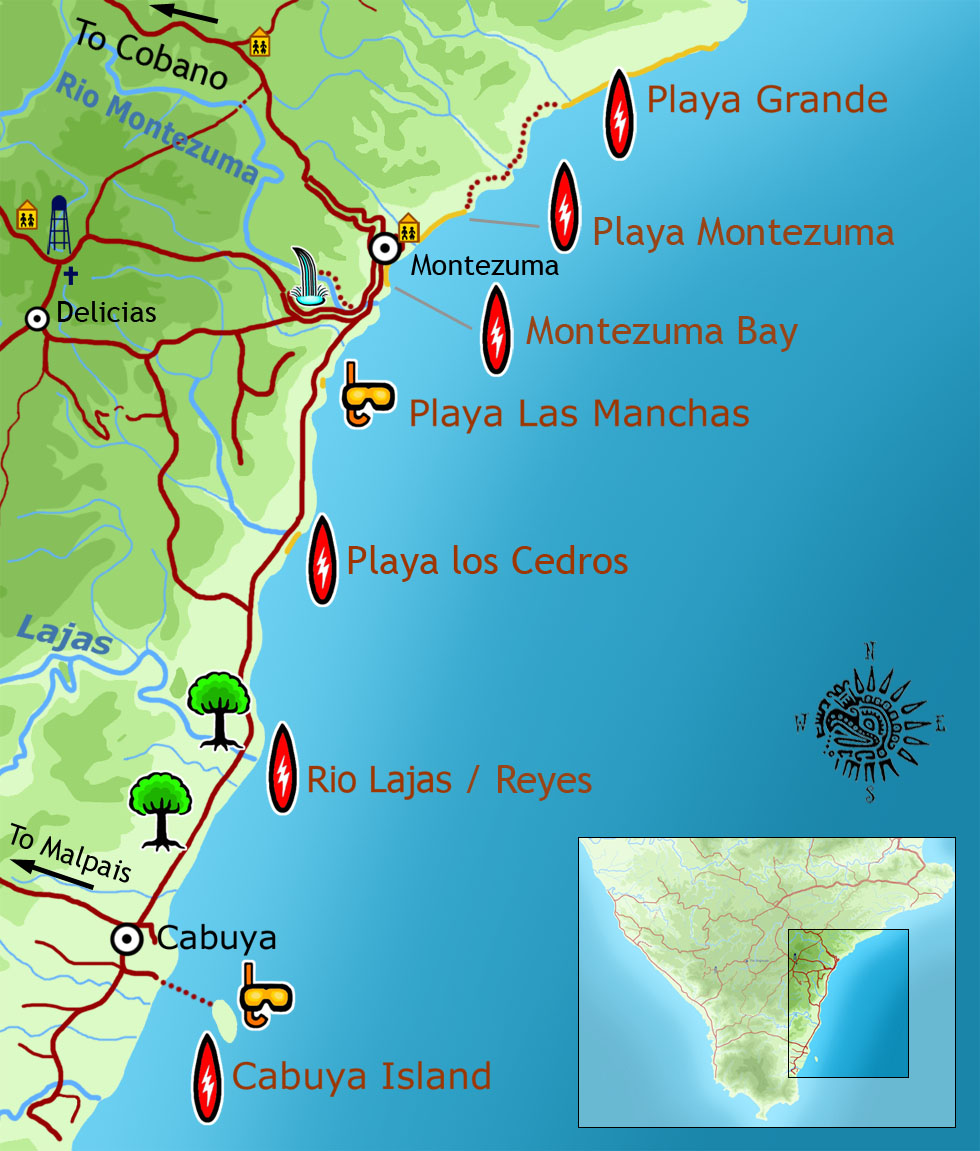 Map of Montezuma and Cabuya surf spots