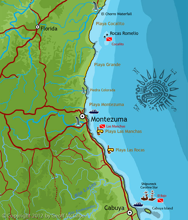 Scuba Diving Map for Montezuma/Cabuya areas