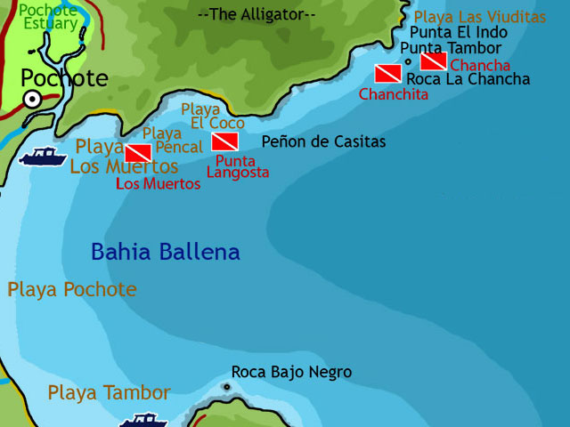 Map of Tambor area (Bahia Ballena) Scuba Diving Sites