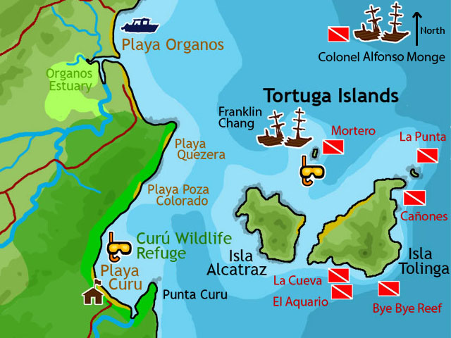 Map of Tortuga Island Scuba Diving Sites