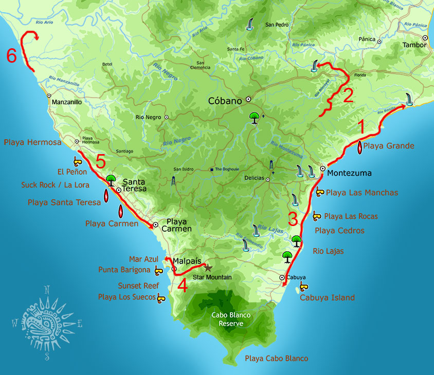 Map showing the most popular horseback tour routes