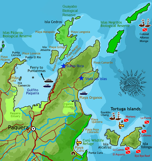 Paquera Map with nearby islands - guayabo and islas negritos biological reserves