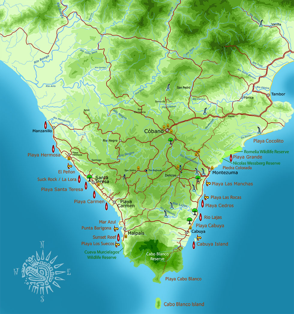 Map of the Southern Nicoya Peninsula of Costa Rica, Puntarenas Province