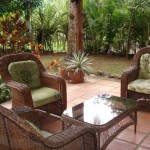 Outdoor living area of this beautiful vacation rental in Delicias