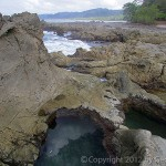 Beautiful rocky landscape of the Santa Teresa area of Costa Rica