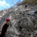 Climbing the face of Punta Murcielago