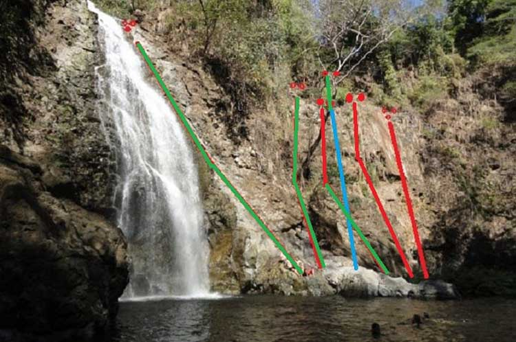 Six bolted routes up the side of Montezuma Falls